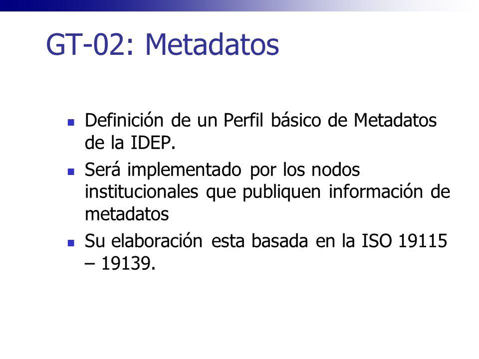 GT-02: Metadatos Definición de un Perfil básico de Metadatos de la IDEP. Será implementado por los nodos institucionales que publiquen información de
