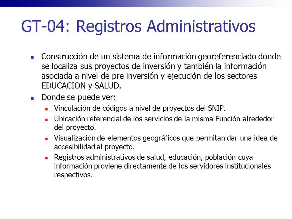 GT-04: Registros Administrativos Construcción de un sistema de información georeferenciado donde se localiza sus proyectos de inversión y también la i