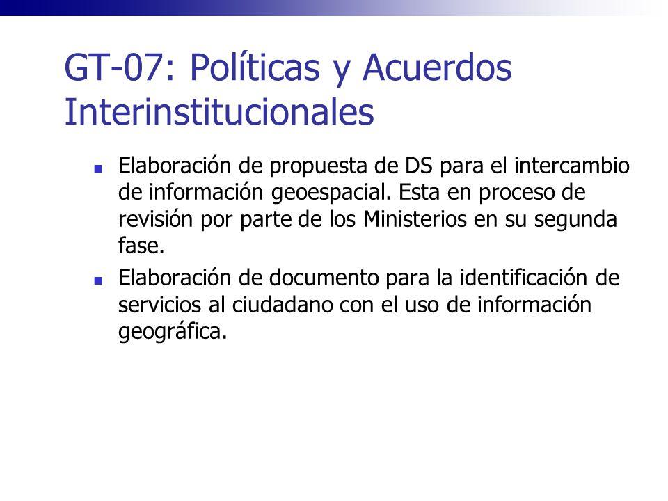 GT-07: Políticas y Acuerdos Interinstitucionales Elaboración de propuesta de DS para el intercambio de información geoespacial. Esta en proceso de rev