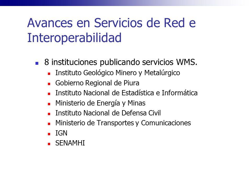 Avances en Servicios de Red e Interoperabilidad 8 instituciones publicando servicios WMS. Instituto Geológico Minero y Metalúrgico Gobierno Regional d