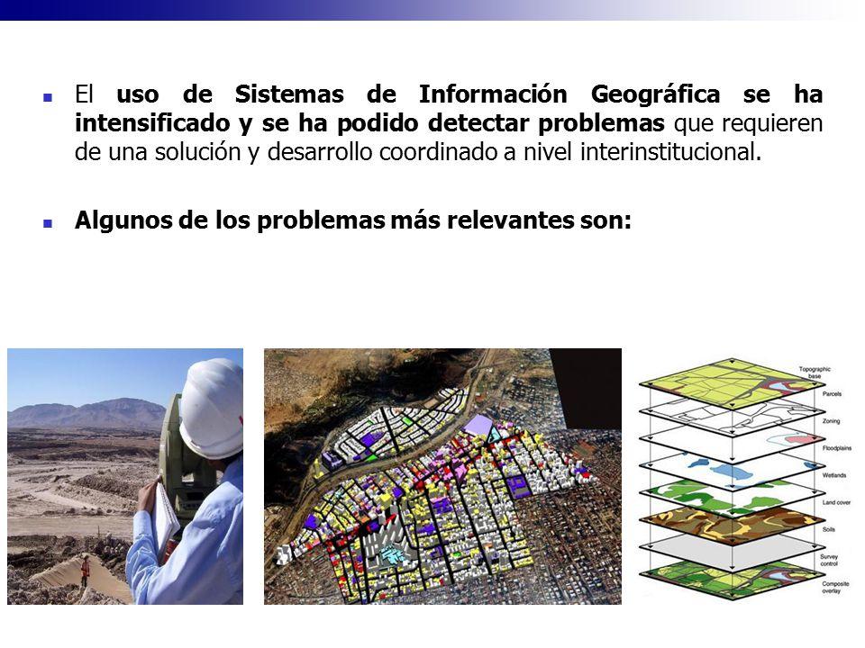 El uso de Sistemas de Información Geográfica se ha intensificado y se ha podido detectar problemas que requieren de una solución y desarrollo coordina