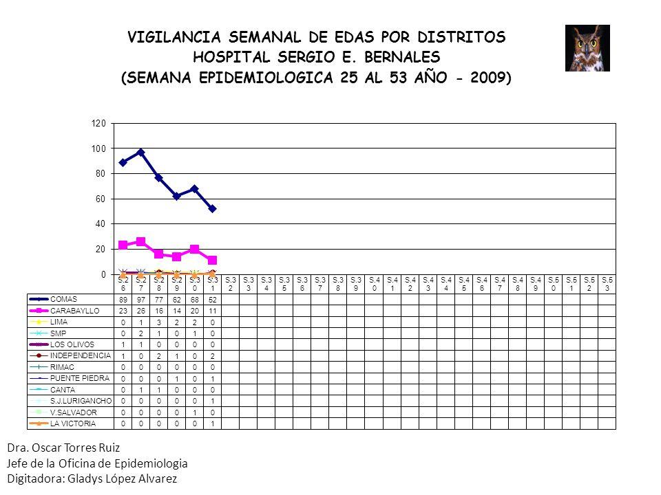 Dra. Oscar Torres Ruiz Jefe de la Oficina de Epidemiologia Digitadora: Gladys López Alvarez