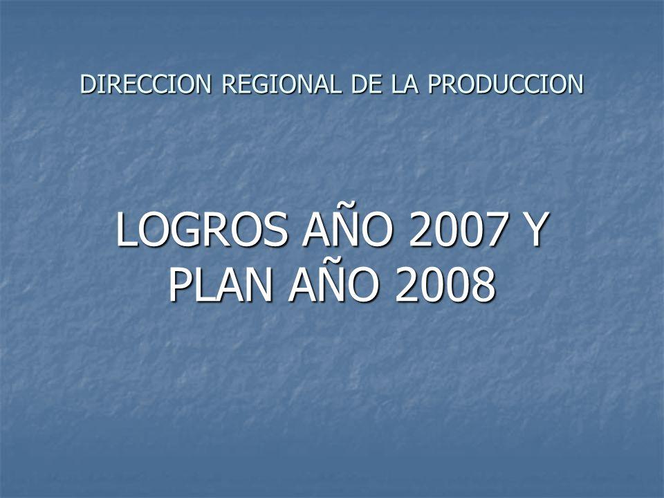 DIRECCION REGIONAL DE LA PRODUCCION LOGROS AÑO 2007 Y PLAN AÑO 2008