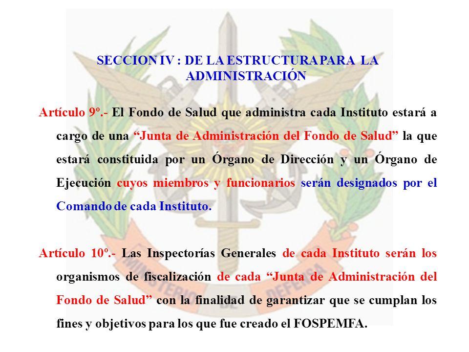 SECCION IV : DE LA ESTRUCTURA PARA LA ADMINISTRACIÓN Artículo 9º.- El Fondo de Salud que administra cada Instituto estará a cargo de una Junta de Admi