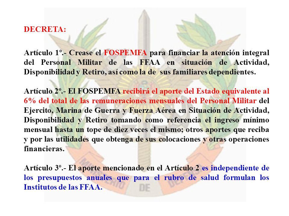 DECRETA: Artículo 1º.- Crease el FOSPEMFA para financiar la atención integral del Personal Militar de las FFAA en situación de Actividad, Disponibilid