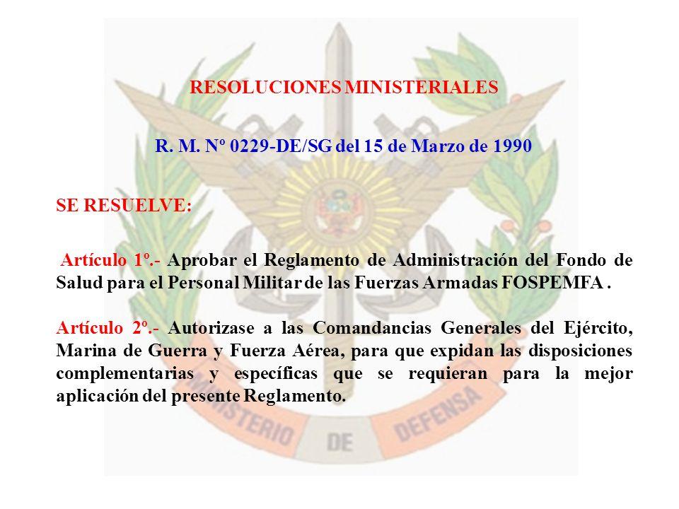 RESOLUCIONES MINISTERIALES R. M. Nº 0229-DE/SG del 15 de Marzo de 1990 SE RESUELVE: Artículo 1º.- Aprobar el Reglamento de Administración del Fondo de