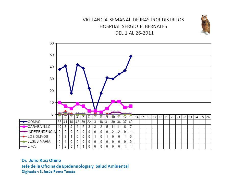 Dr.Julio Ruiz Olano Jefe de la Oficina de Epidemiologia y Salud Ambiental Digitador: S.