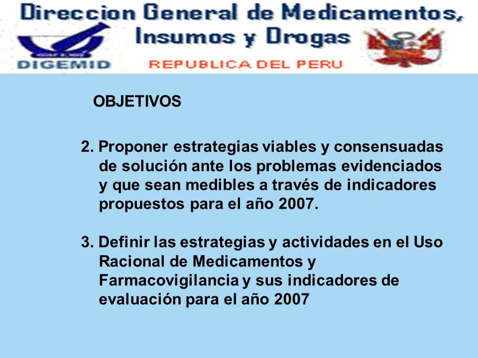 OBJETIVOS 2. Proponer estrategias viables y consensuadas de solución ante los problemas evidenciados y que sean medibles a través de indicadores propu