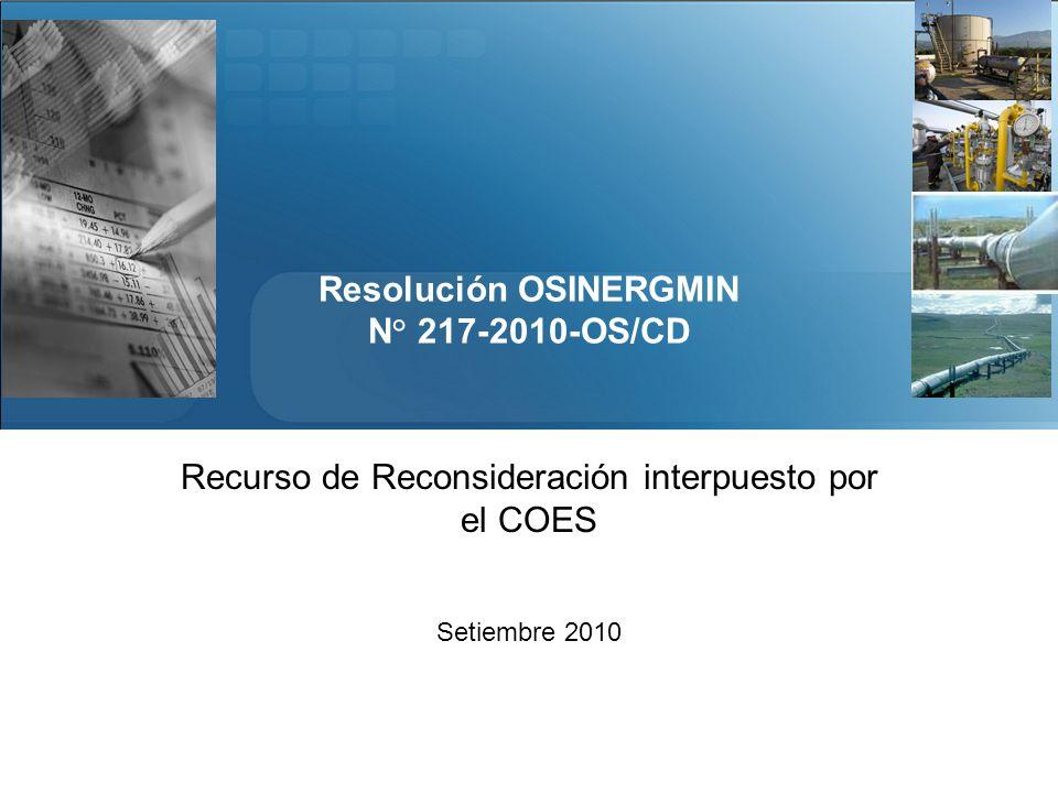 Resolución OSINERGMIN N° 217-2010-OS/CD Recurso de Reconsideración interpuesto por el COES Setiembre 2010