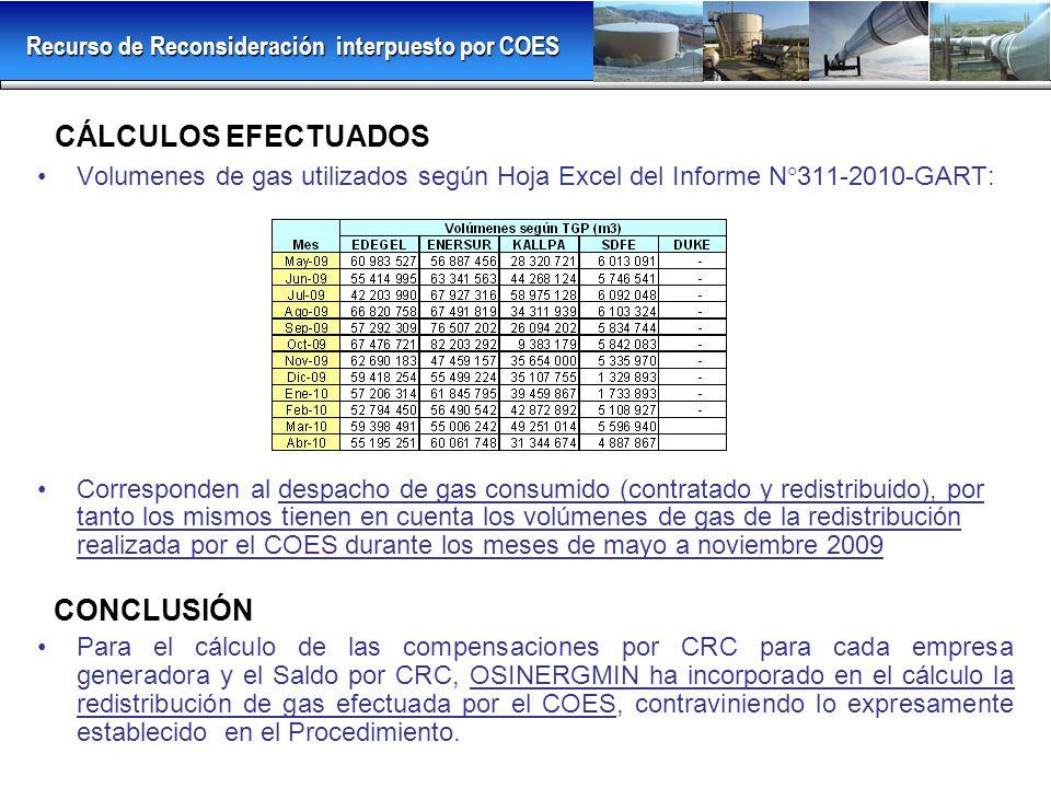 CÁLCULOS EFECTUADOS Volumenes de gas utilizados según Hoja Excel del Informe N°311-2010-GART: Corresponden al despacho de gas consumido (contratado y redistribuido), por tanto los mismos tienen en cuenta los volúmenes de gas de la redistribución realizada por el COES durante los meses de mayo a noviembre 2009 CONCLUSIÓN Para el cálculo de las compensaciones por CRC para cada empresa generadora y el Saldo por CRC, OSINERGMIN ha incorporado en el cálculo la redistribución de gas efectuada por el COES, contraviniendo lo expresamente establecido en el Procedimiento.