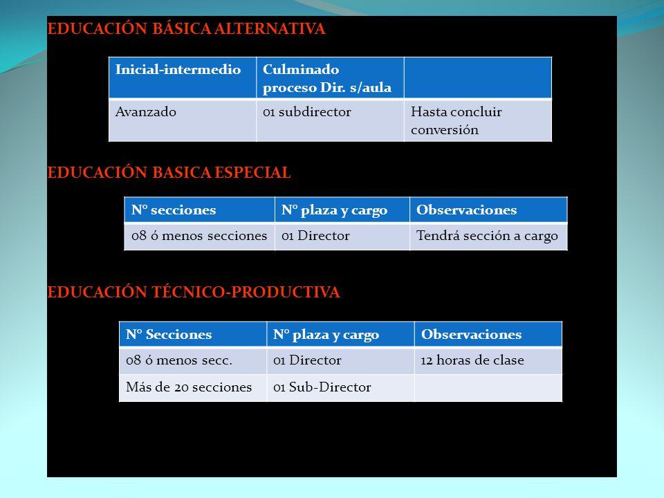 PERSONAL DIRECTIVO EDUCACIÓN INICIAL EDUCACION PRIMARIA EDUCACIÓN SECUNDARIA N° SeccionesN° plaza y cargoObservaciones 07 ó menos secciones01 Director