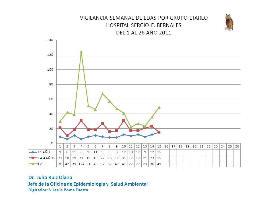 Dr. Julio Ruiz Olano Jefe de la Oficina de Epidemiologia y Salud Ambiental Digitador: S. Jesús Poma Tuesta
