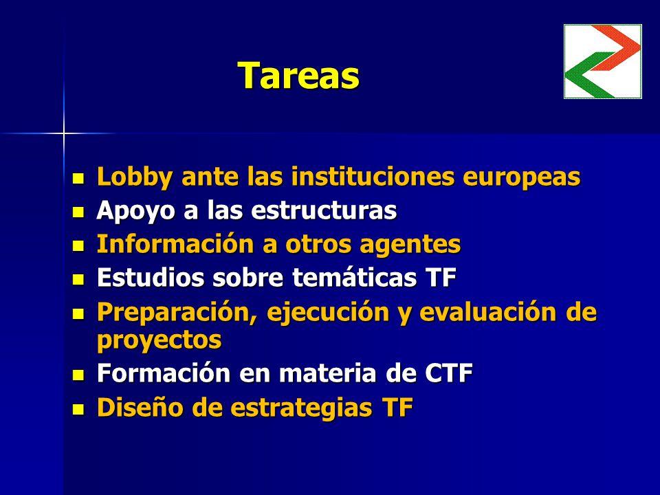 Tareas Lobby ante las instituciones europeas Lobby ante las instituciones europeas Apoyo a las estructuras Apoyo a las estructuras Información a otros agentes Información a otros agentes Estudios sobre temáticas TF Estudios sobre temáticas TF Preparación, ejecución y evaluación de proyectos Preparación, ejecución y evaluación de proyectos Formación en materia de CTF Formación en materia de CTF Diseño de estrategias TF Diseño de estrategias TF