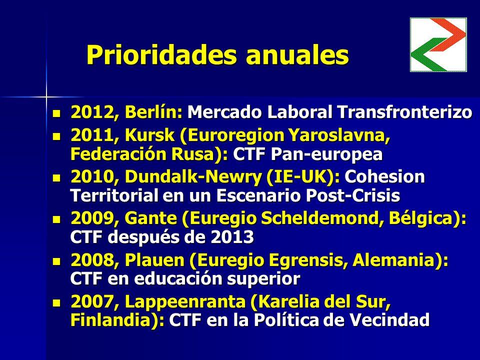 Prioridades anuales 2012, Berlín: Mercado Laboral Transfronterizo 2012, Berlín: Mercado Laboral Transfronterizo 2011, Kursk (Euroregion Yaroslavna, Federación Rusa): CTF Pan-europea 2011, Kursk (Euroregion Yaroslavna, Federación Rusa): CTF Pan-europea 2010, Dundalk-Newry (IE-UK): Cohesion Territorial en un Escenario Post-Crisis 2010, Dundalk-Newry (IE-UK): Cohesion Territorial en un Escenario Post-Crisis 2009, Gante (Euregio Scheldemond, Bélgica): CTF después de 2013 2009, Gante (Euregio Scheldemond, Bélgica): CTF después de 2013 2008, Plauen (Euregio Egrensis, Alemania): CTF en educación superior 2008, Plauen (Euregio Egrensis, Alemania): CTF en educación superior 2007, Lappeenranta (Karelia del Sur, Finlandia): CTF en la Política de Vecindad 2007, Lappeenranta (Karelia del Sur, Finlandia): CTF en la Política de Vecindad
