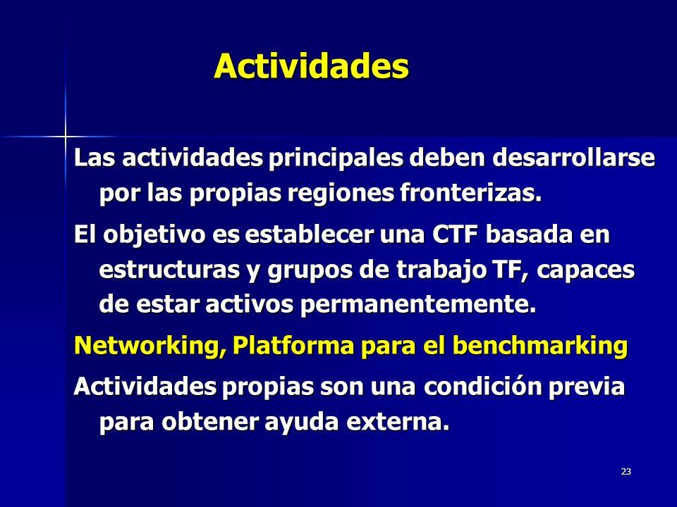 23Actividades Las actividades principales deben desarrollarse por las propias regiones fronterizas.