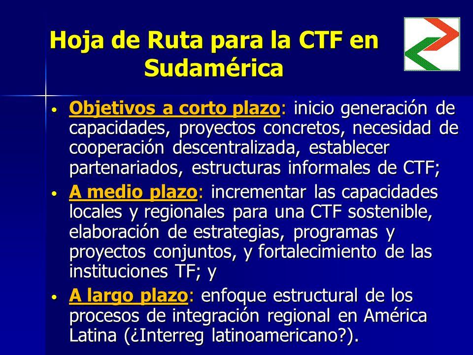 Hoja de Ruta para la CTF en Sudamérica Objetivos a corto plazo: inicio generación de capacidades, proyectos concretos, necesidad de cooperación descentralizada, establecer partenariados, estructuras informales de CTF; Objetivos a corto plazo: inicio generación de capacidades, proyectos concretos, necesidad de cooperación descentralizada, establecer partenariados, estructuras informales de CTF; A medio plazo: incrementar las capacidades locales y regionales para una CTF sostenible, elaboración de estrategias, programas y proyectos conjuntos, y fortalecimiento de las instituciones TF; y A medio plazo: incrementar las capacidades locales y regionales para una CTF sostenible, elaboración de estrategias, programas y proyectos conjuntos, y fortalecimiento de las instituciones TF; y A largo plazo: enfoque estructural de los procesos de integración regional en América Latina (¿Interreg latinoamericano ).