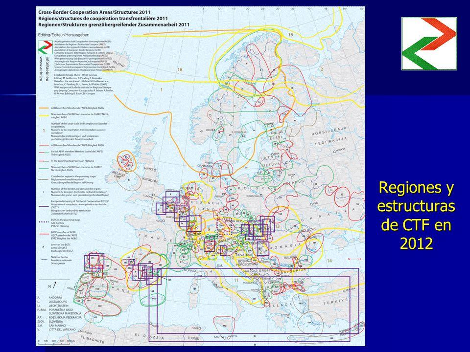 Regiones y estructuras de CTF en 2012 Insertar mapa Insertar mapa