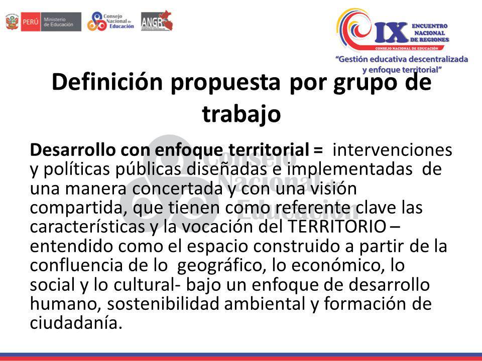 Definición propuesta por grupo de trabajo Desarrollo con enfoque territorial = intervenciones y políticas públicas diseñadas e implementadas de una ma