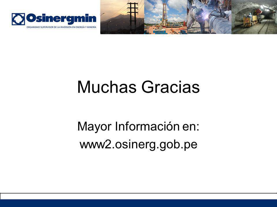 Muchas Gracias Mayor Información en: www2.osinerg.gob.pe