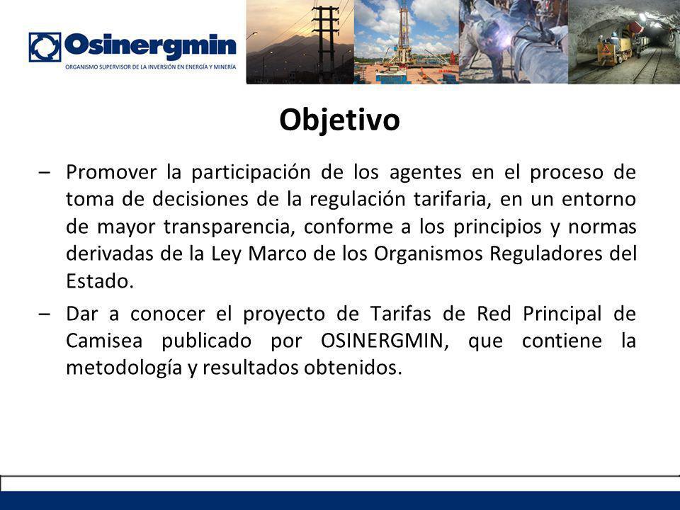 –Promover la participación de los agentes en el proceso de toma de decisiones de la regulación tarifaria, en un entorno de mayor transparencia, conforme a los principios y normas derivadas de la Ley Marco de los Organismos Reguladores del Estado.