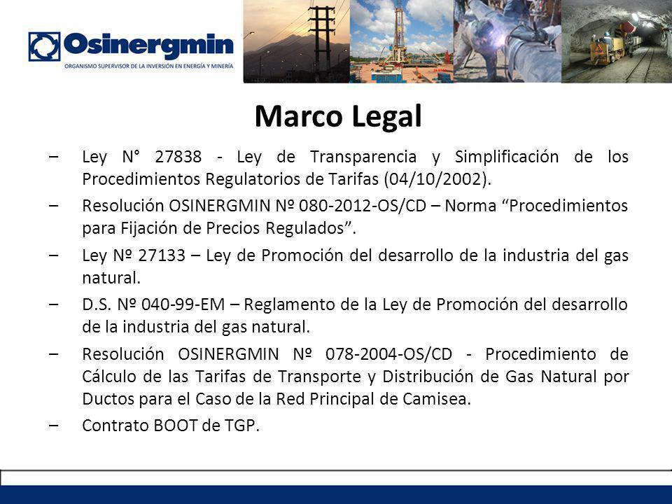 Marco Legal –Ley N° 27838 - Ley de Transparencia y Simplificación de los Procedimientos Regulatorios de Tarifas (04/10/2002).