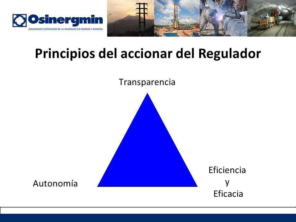 Principios del accionar del Regulador Transparencia Autonomía Eficiencia y Eficacia