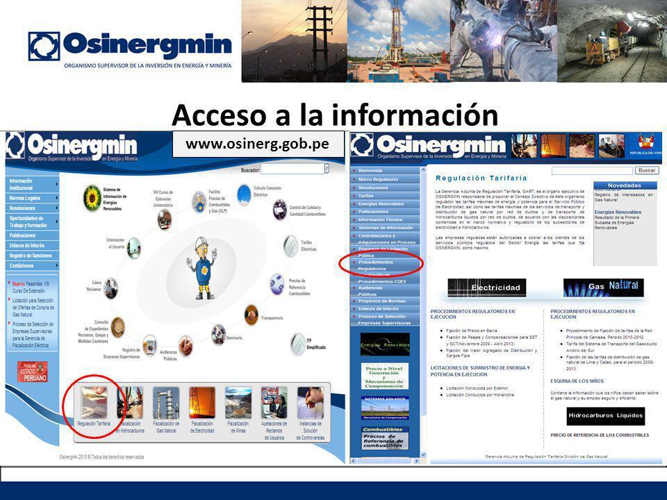 Acceso a la información www.osinerg.gob.pe