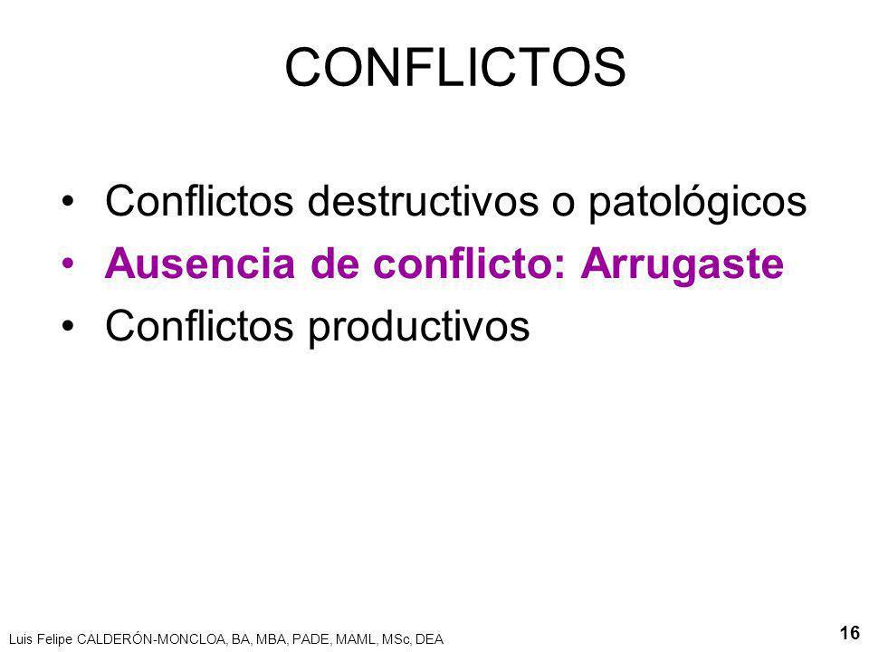 Luis Felipe CALDERÓN-MONCLOA, BA, MBA, PADE, MAML, MSc, DEA 16 CONFLICTOS Conflictos destructivos o patológicos Ausencia de conflicto: Arrugaste Confl