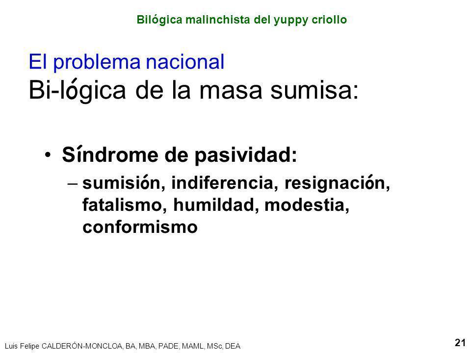 Luis Felipe CALDERÓN-MONCLOA, BA, MBA, PADE, MAML, MSc, DEA 21 El problema nacional Bi-l ó gica de la masa sumisa: S í ndrome de pasividad: –sumisi ó