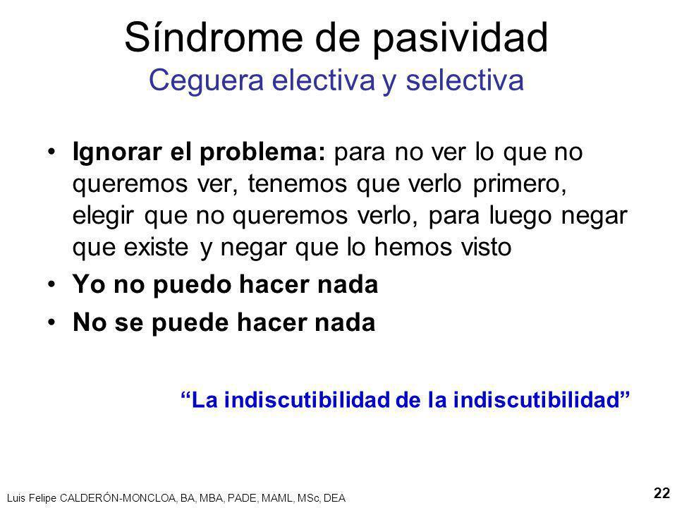 Luis Felipe CALDERÓN-MONCLOA, BA, MBA, PADE, MAML, MSc, DEA 22 Síndrome de pasividad Ceguera electiva y selectiva Ignorar el problema: para no ver lo