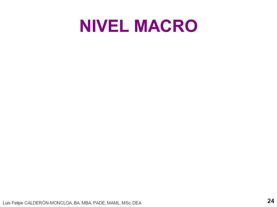 Luis Felipe CALDERÓN-MONCLOA, BA, MBA, PADE, MAML, MSc, DEA 24 NIVEL MACRO