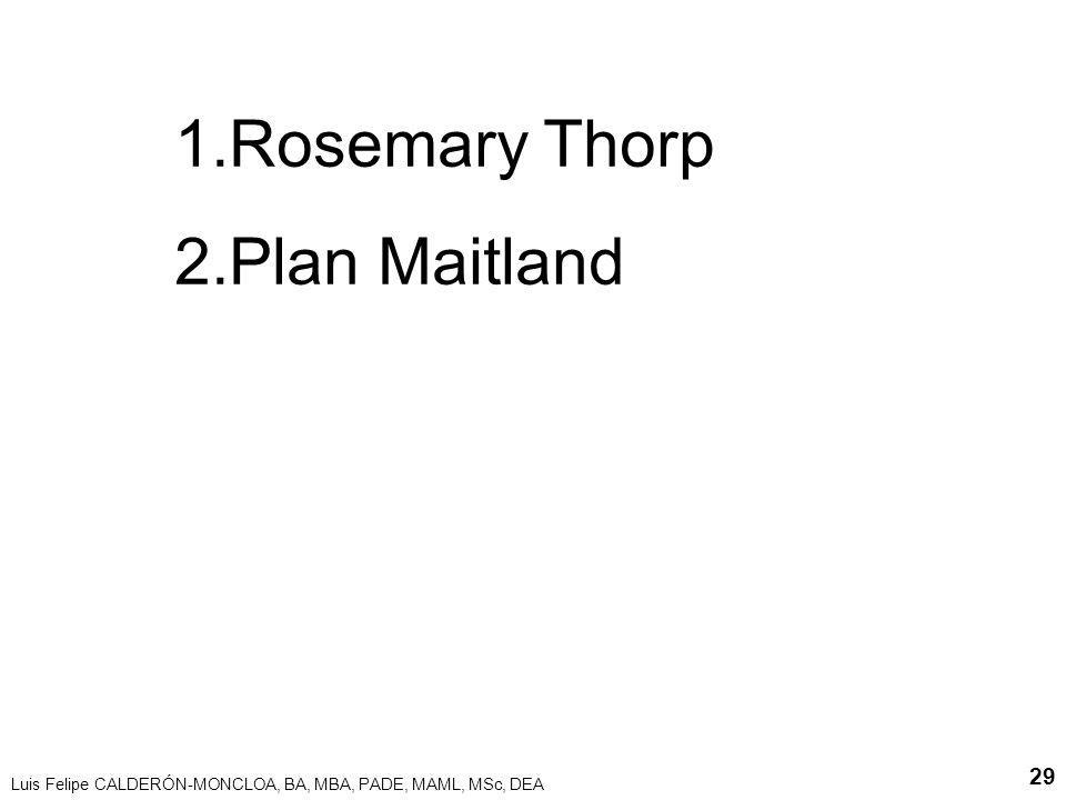 Luis Felipe CALDERÓN-MONCLOA, BA, MBA, PADE, MAML, MSc, DEA 29 1.Rosemary Thorp 2.Plan Maitland