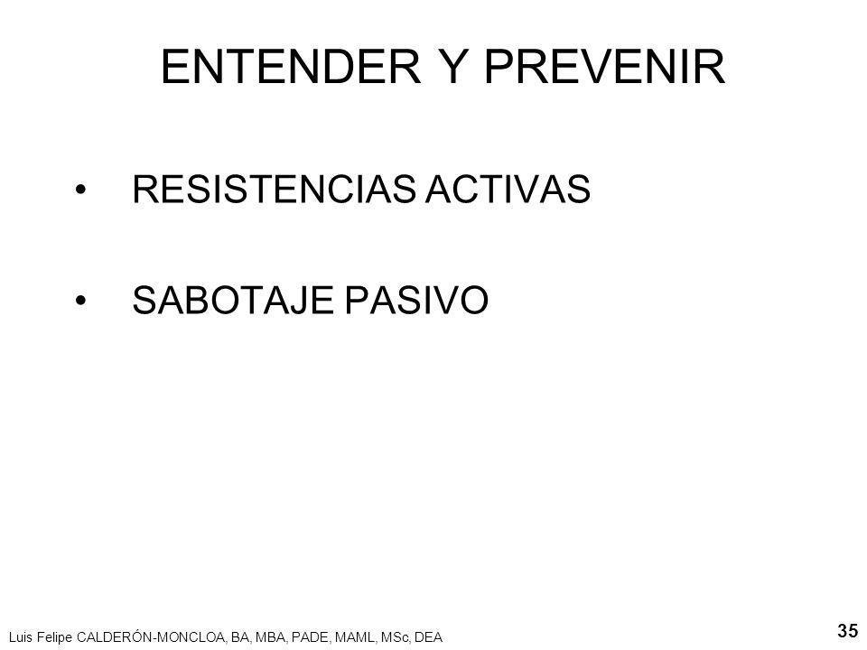 Luis Felipe CALDERÓN-MONCLOA, BA, MBA, PADE, MAML, MSc, DEA 35 ENTENDER Y PREVENIR RESISTENCIAS ACTIVAS SABOTAJE PASIVO