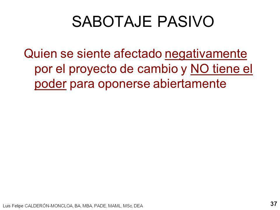 Luis Felipe CALDERÓN-MONCLOA, BA, MBA, PADE, MAML, MSc, DEA 37 SABOTAJE PASIVO Quien se siente afectado negativamente por el proyecto de cambio y NO t