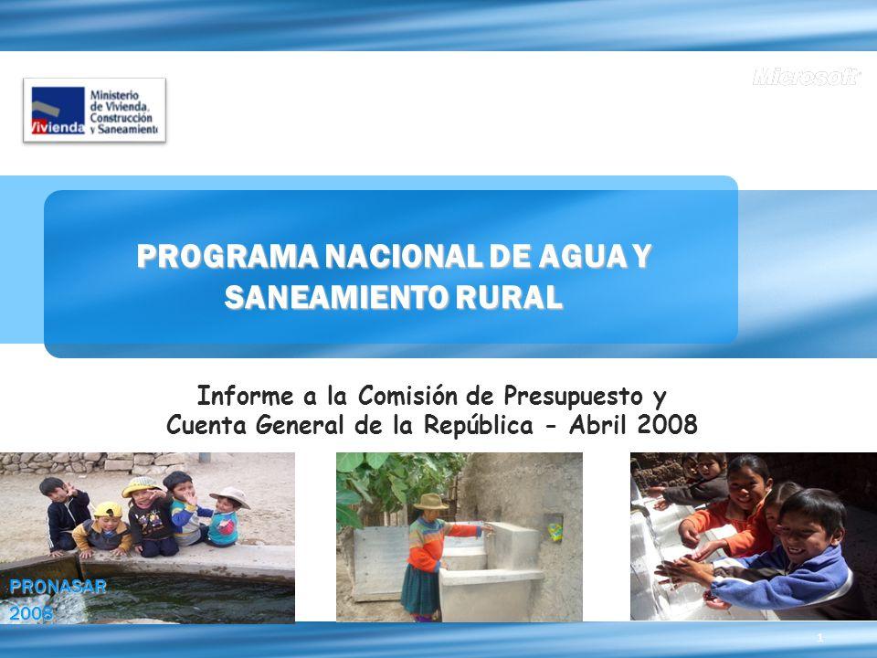 1 PROGRAMA NACIONAL DE AGUA Y SANEAMIENTO RURAL Informe a la Comisión de Presupuesto y Cuenta General de la República - Abril 2008 PRONASAR2008