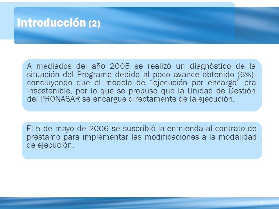 44 Introducción (2) A mediados del año 2005 se realizó un diagnóstico de la situación del Programa debido al poco avance obtenido (6%), concluyendo que el modelo de ejecución por encargo era insostenible, por lo que se propuso que la Unidad de Gestión del PRONASAR se encargue directamente de la ejecución.