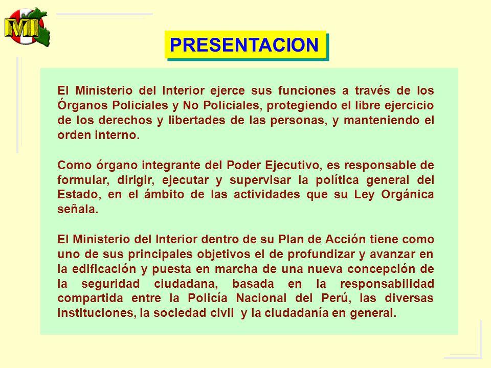 EL MINISTERIO DEL INTERIOR De acuerdo a la constitución es un organismo público encargado de: Proteger y garantizar el libre ejercicio de los derechos y libertades fundamentales de las personas.
