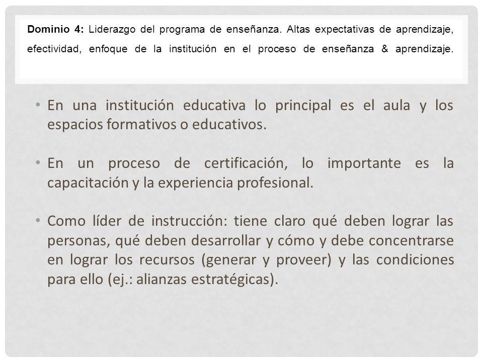 Dominio 4: Liderazgo del programa de enseñanza. Altas expectativas de aprendizaje, efectividad, enfoque de la institución en el proceso de enseñanza &