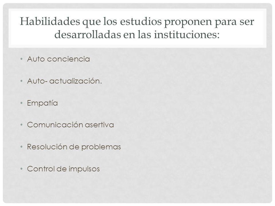Habilidades que los estudios proponen para ser desarrolladas en las instituciones: Auto conciencia Auto- actualización. Empatía Comunicación asertiva