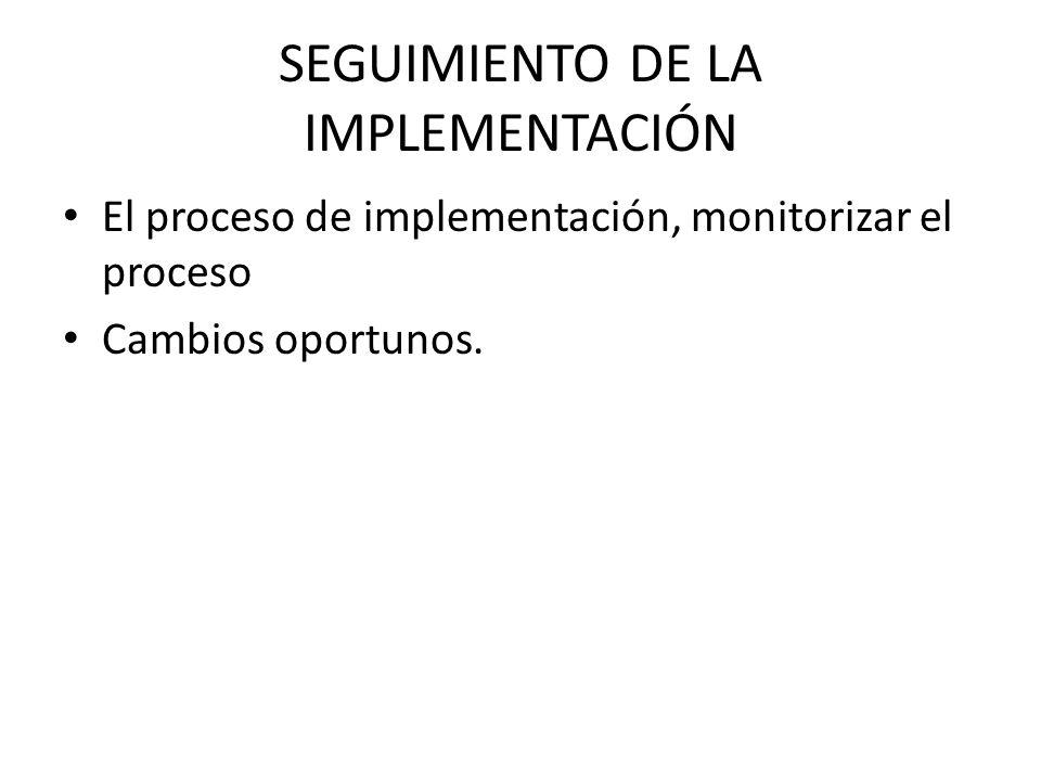 SEGUIMIENTO DE LA IMPLEMENTACIÓN El proceso de implementación, monitorizar el proceso Cambios oportunos.
