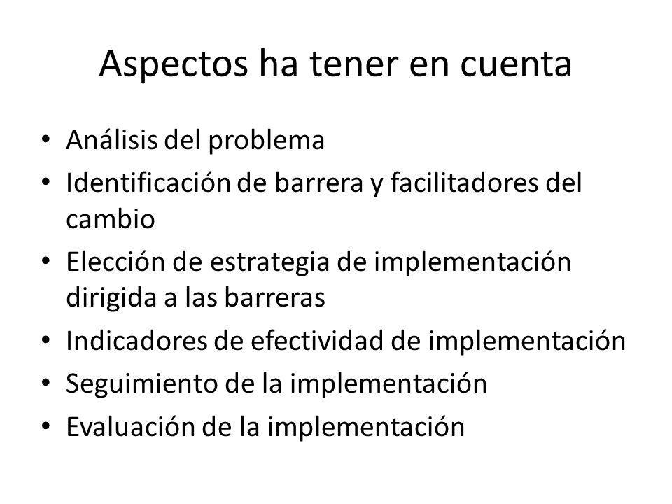 Aspectos ha tener en cuenta Análisis del problema Identificación de barrera y facilitadores del cambio Elección de estrategia de implementación dirigida a las barreras Indicadores de efectividad de implementación Seguimiento de la implementación Evaluación de la implementación