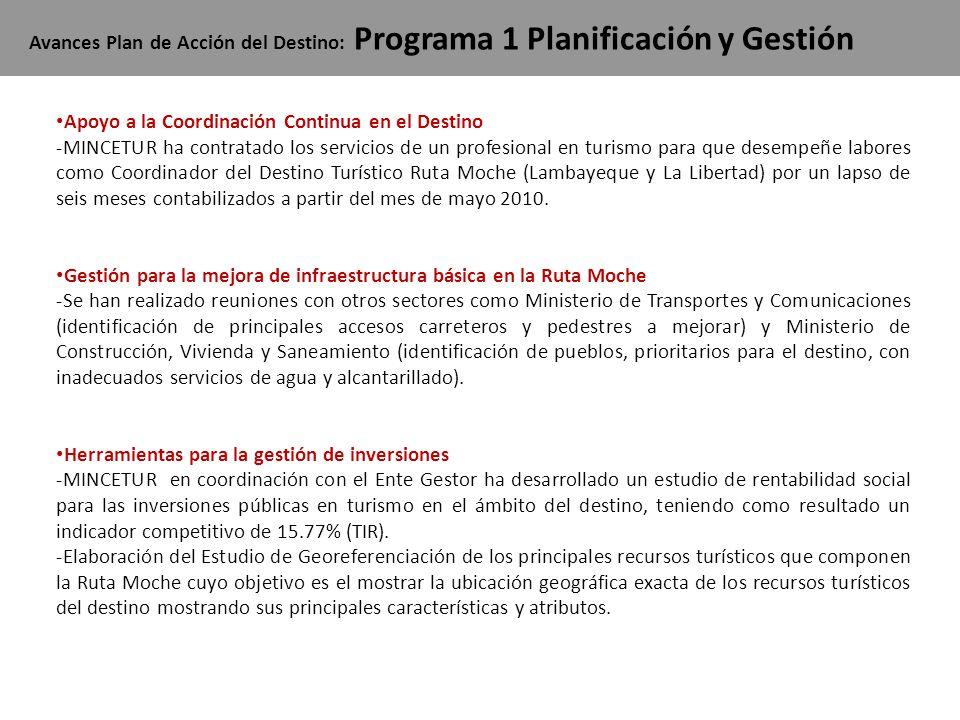 Avances Plan de Acción del Destino: Programa 1 Planificación y Gestión Apoyo a la Coordinación Continua en el Destino -MINCETUR ha contratado los serv
