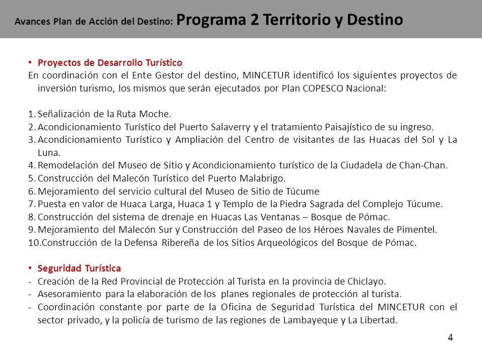 4 Proyectos de Desarrollo Turístico En coordinación con el Ente Gestor del destino, MINCETUR identificó los siguientes proyectos de inversión turismo,