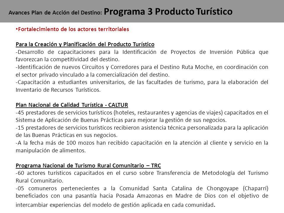 Avances Plan de Acción del Destino: Programa 3 Producto Turístico Fortalecimiento de los actores territoriales Para la Creación y Planificación del Pr