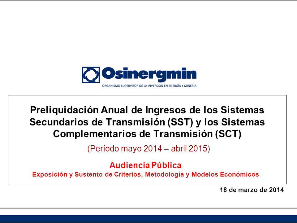 Preliquidación Anual de Ingresos de los Sistemas Secundarios de Transmisión (SST) y los Sistemas Complementarios de Transmisión (SCT) (Período mayo 20