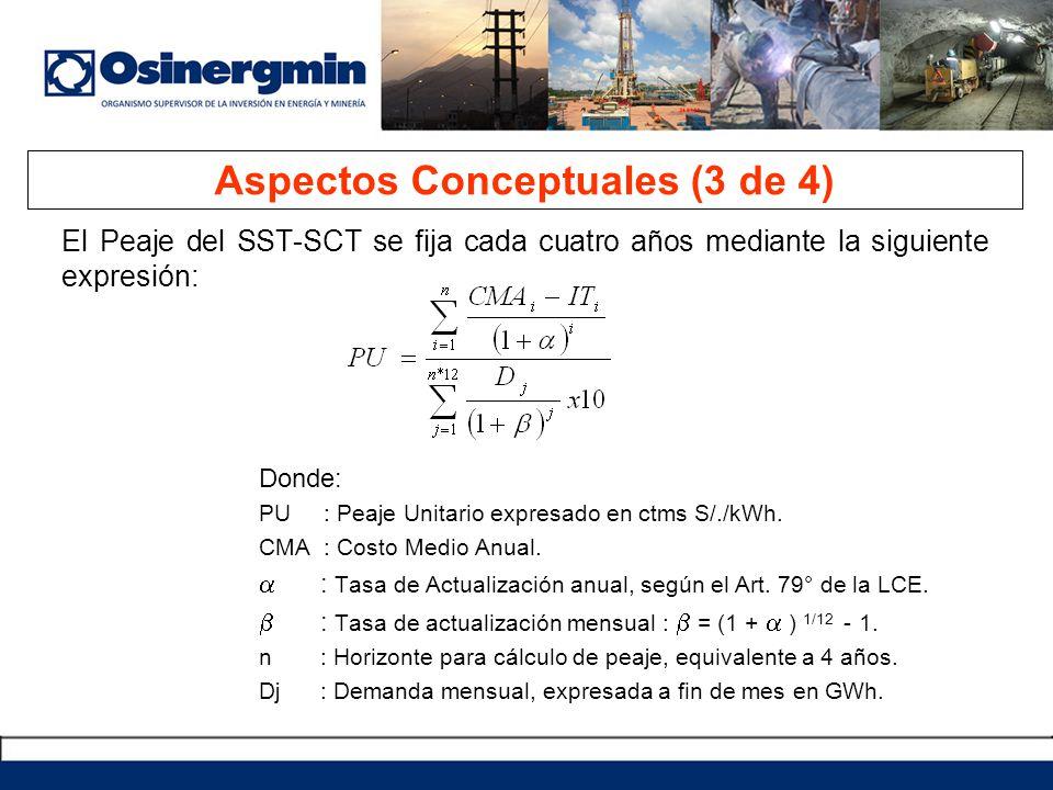 El Peaje del SST-SCT se fija cada cuatro años mediante la siguiente expresión: Donde: PU : Peaje Unitario expresado en ctms S/./kWh. CMA : Costo Medio