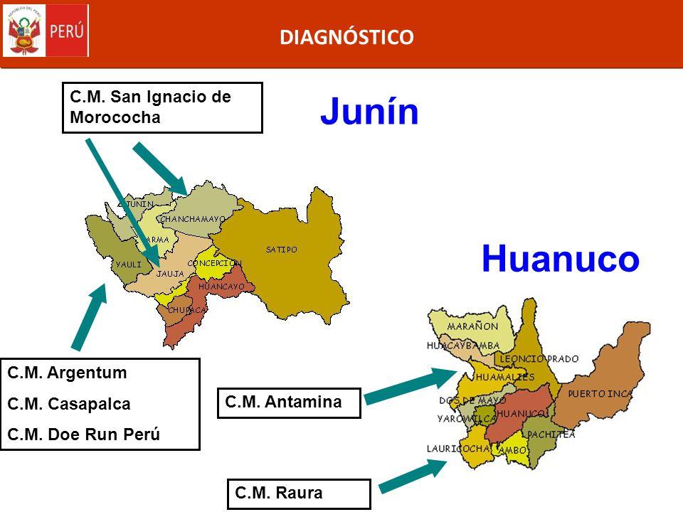 DIAGNÓSTICO Junín C.M. Argentum C.M. Casapalca C.M. Doe Run Perú C.M. San Ignacio de Morococha Huanuco C.M. Antamina C.M. Raura