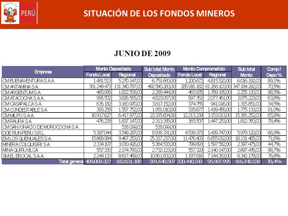 SITUACIÓN DE LOS FONDOS MINEROS JUNIO DE 2009