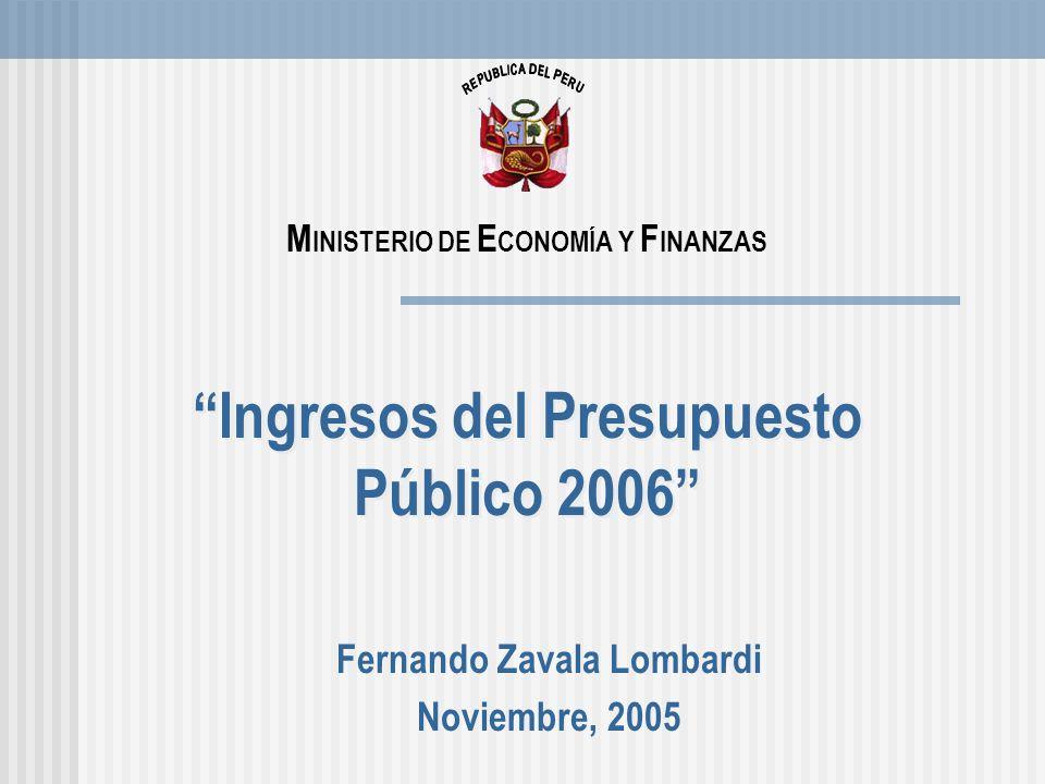 2 Contenido 1.Evolución Macroeconómica Reciente. 2.Los ingresos del Presupuesto Público 2006.