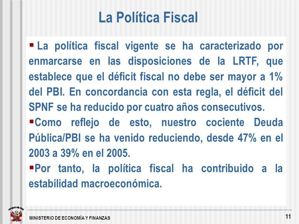 MINISTERIO DE ECONOMÍA Y FINANZAS 11 La política fiscal vigente se ha caracterizado por enmarcarse en las disposiciones de la LRTF, que establece que el déficit fiscal no debe ser mayor a 1% del PBI.